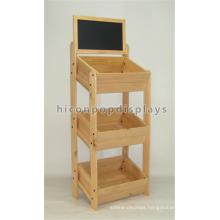 Black Chalk Board Wood Gondola Shelving 3-Layer Freestanding Bread Shop Solid Wood Display Shelves