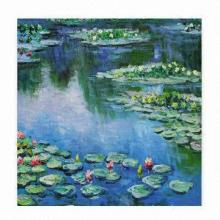 Abstract Oil Painting with Water Lilies Abstract Oil Painting/100% Hand-painted Oil on Canvas Paint