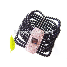 Fashion Bling Chunky Elastic Black Onyx Statement Bracelet
