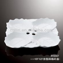 4 en 1 placa de porcelana cuadrada en forma de hoja