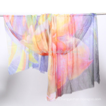 digital printed soft and thin water soluble wool shawl