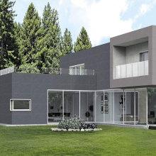 Large format porcelain tile exterior