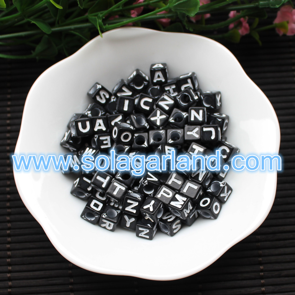 Black Square Cube Letter Beads