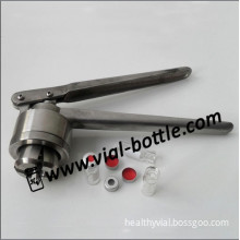11mm hand crimper tool for 2ml chromatography vials with PTFE seals and aluminum crimp collars