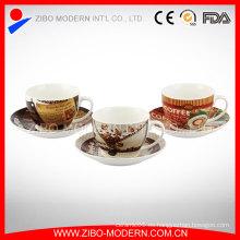 Tazas y platillos al por mayor de espresso de la porcelana