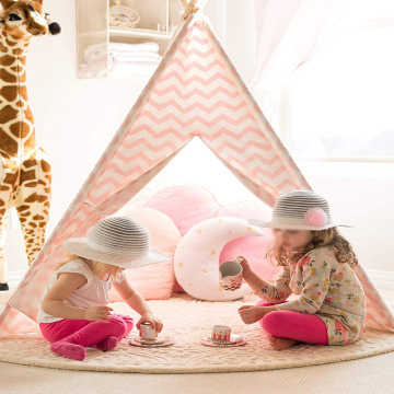 Girls Play Tent Pink Chevron Cotton Canvas Tipi