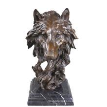 Animal Bronce Escultura Lobo Cabeza Decoración Latón Estatua Tpy-067