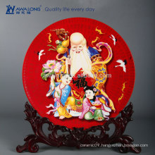 Red Background Colorful Painting Fine Bone China Chinese Traditional Decorative Plates