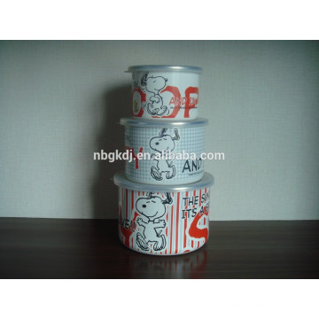3 sets snoopy enamel ice bowl with PE lid