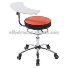 Red fabric swivel lift School chair with plastic writepad
