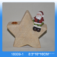 Star shape ceramic santa candle holder for christmas