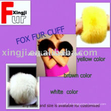 cor tingida ou cor natural manguito de pele de raposa real para jaqueta