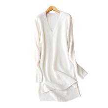 Women 2017 new dresses pure cashmere knitting deep V neck split hem sexy short above knee dress