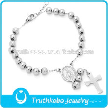 Vacuum Catholic Medal Stainless Steel Bead Bracelet High Polish Silver 5MM Cross Rosary Bracelet for Catholic