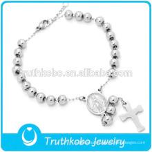 Vacuum Catholic Medal Stainless Steel Bead Bracelet High Polish Silver 5MM Cross Rosary Bracelet for Catholic