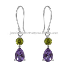 Amethyst And Peridot Gemstone 925 Sterling Silver Earring