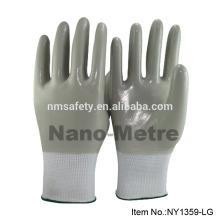NMSAFETY forro de nylon cheio de luvas de nitrilo cinza revestido luvas de trabalho suave