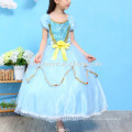 Crianças menina boutique cospay traje vestido cor azul desgaste do partido vestido de princesa crianças