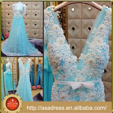 CWD8 Romantique V-Neck Formal Party Robes 2015 Beaded Appliqued A-Line Plein Longueur Bas Tulle Bleu Bleu Femme Robe Soirée