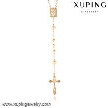 43267 Rosario Xuping collar de cadena chapado en oro 18k, último diseño de collar de joyas de oro saudita