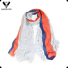 Women′s Super Soft Vertical Stripe Print Real Modal Scarf Short Fringes