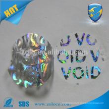 Adesivos de holograma personalizados à prova de invólucros baratos com vazio esquerdo