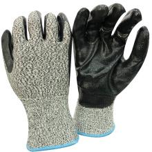 NMSAFETY High Cut Level verwendet eine schwarze Nitril-Schale mit geschnittenen Handschuhen OEM