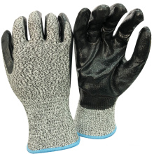 NMSAFETY high cut level use black nitrile shell with cut liner gloves OEM