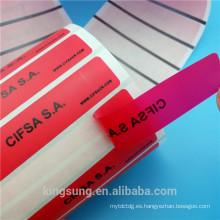 Material de PET anti falso rollo de etiqueta con la letra VACÍO
