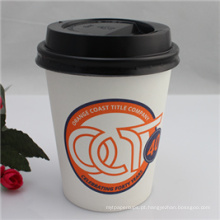 Copo de papel descartável único de 12oz de papel para o café