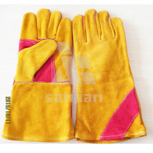 "Double Plam Orange 13"" Split Leather Ab/Bc Grade Welding Safety Glove with CE"