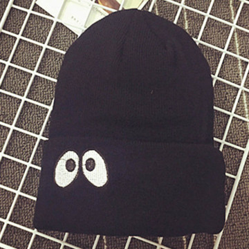 Flat Embroidered Eyes Knitted Beanie  Hats