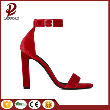red leather casual women thin heel sandals