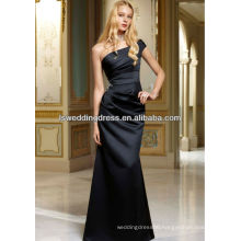HB2104 One shoulder gathered satin A-line simple beaded crystal pearl pattern waist sheath full length long black satin dress