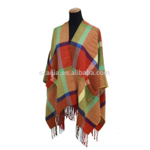 Fashion ladies big border tartan plaid poncho