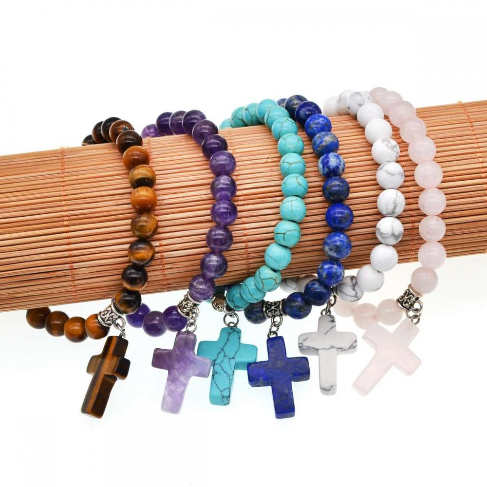 Natural Semi Precious Stone Beads Elastic Bracelet With Charms Cross Pendant