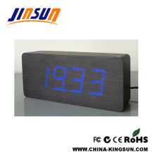 Digital Led Alarm Clock Desk Wooden