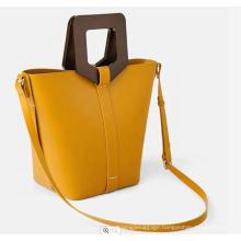 Custom Smooth Leather Wooden Handle Ladies Hand Bag Women Bucket Handbag