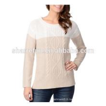 gros câble tricoté 100% pur tricot en cachemire pour les dames