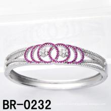 Micro de plata esterlina pavimentan los brazaletes coloreados de la CZ (BR-0232)