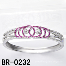 Sterling Silver Micro Pave Colored CZ Bangles (BR-0232)