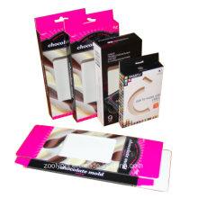 Caixa de embalagem de papelão do chocolate / caixa de embalagem USB com cabide