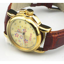 Vogue Gold Dial Ladies Automatic Watch Skeleton With Flower Brown