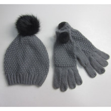 Ladies Pompom Hat Gloves Set