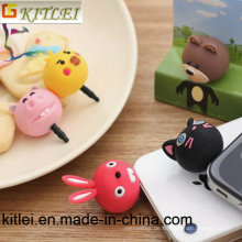Großverkauf 3-5mm Kopfhörer-Klinkenstecker 20PCS Karikatur-Kaninchen-Bärn-Katzen-Schwein-Bärn-Gummi-Telefon-Stecker