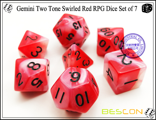 Gemini Two Tone Swirled Red RPG Dice Set of 7-3