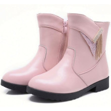 hot sale children cheap lovely pink leather boots for little girls