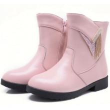горячие продажи дети дешевые прекрасный розовый кожаные сапоги для маленьких девочек