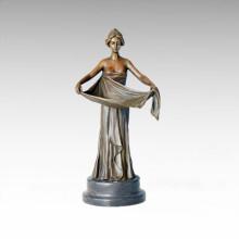 Candlestick Bronze Sculpture Skirt Lady Brass Statue Candleholder Tpch-055