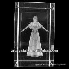 K9 3D Laser Image Gravé Bloc de cristal